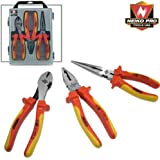Neiko Pro 3-Piece Insulated Pliers Set Contractor's Grade 1000V-VDE Tested with Carrying Case