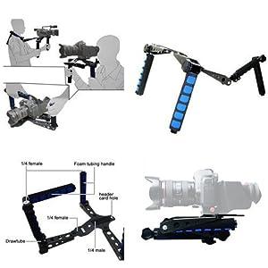 BV & Jo - Soporte de hombro para cámaras Canon 5D, 7D, 60D, 550D, 600D, Nikon D90 D7000 D5100 D3100 D300, Sony A65 A55, A33, A580, A560, Panasonic GH1, GH2, GH3 y réflex Pentax, Olympus, Sony, Fuji