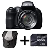 Fujifilm FinePix HS30EXR + Case and 16GB Memory Card (16MP EXR-CMOS Sensor, 30x Manual Optical Zoom) 3 inch Tiltable LCD Screen