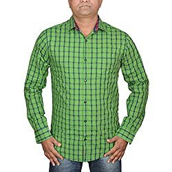 Hunk Men's parrot green Cotton Shirt