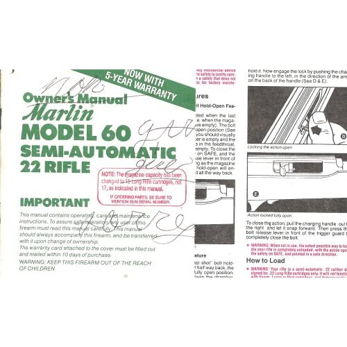 Owner's Manual Marlin Model 60 Semi-automatic 22 Rifle: The Marlin