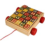 RVOLD ABC / 123 WOODEN LEARNING BLOCKS CART FOR TODDLERS AND PRE SCHOOLERS