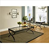 Steve Silver Emerson Rectangle Glass Top 3-Piece Coffee Table Set -
