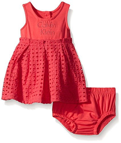 Calvin Klein Baby Girls' Dress with Eyelet Piecing and Panty, Red Icing, 0-3 Months