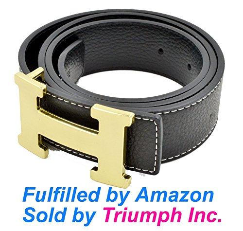 Triumph@ (Fulfilled e spedito da Amazon) H Style Fascia di cuoio donne unisex degli uomini (larghezza 38 mm) (110cm, Gold+Black)