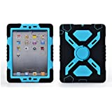 Ipad Mini 1& 2 Case Plastic Kid Proof Extreme Duty Dual Protective Back Cover with Kickstand and Sticker for Ipad Mini 1&2 - Rainproof Sandproof Dust-proof Shockproof (Black/blue)