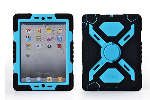 Pepkoo Ipad 2/3/4 Case Plastic Kid Proof Extreme Duty Dual Protective Back Cover with Kickstand and Sticker for Ipad 4/3/2 - Rainproof Sandproof Dust-proof Shockproof (Black/blue) (Protective Covers For Ipad 2 compare prices)