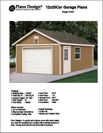 12' X 20' Car Garage Project Plans -Design #51220