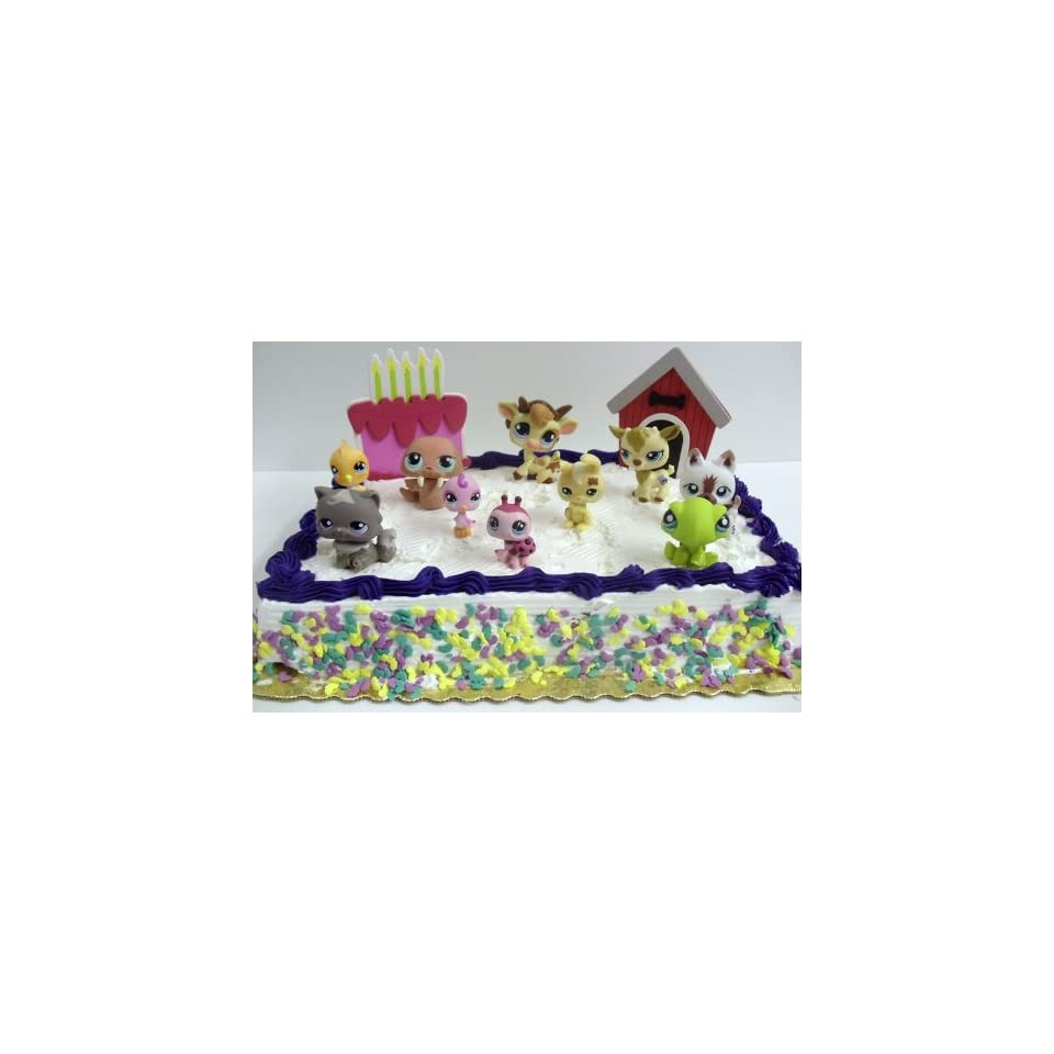 Adorable Littlest Pet Shop 12 Piece Birthday Cake Topper Set Featuring 10 Random Littlest Pet Shop Figures, Decorative Dog House, and Birthday Cake