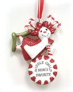 Middle Child Mom's Favorite Candy Snowman Christmas Ornament