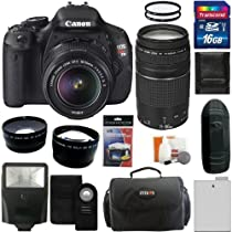 Canon EOS Rebel T3i Digital Camera SLR Kit With Canon EF-S 18-55mm IS II + Canon EF 75-300mm f/4.0-5.6 III Autofocus Lens + 16GB Card and Reader + Wide angle and Telephoto Lenses + Battery + Filters + Accessory Kit