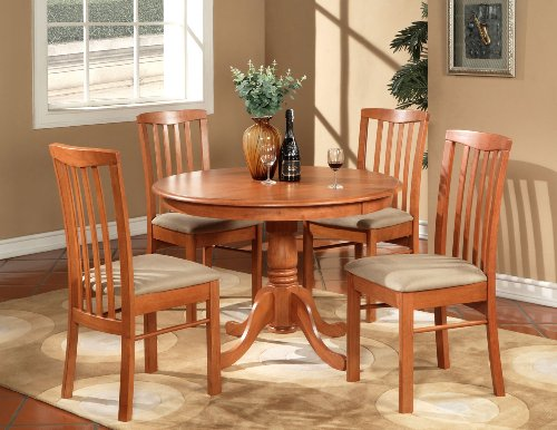 5PC Round Kitchen Dinette Table Set And 4 Cushioned Chairs ...