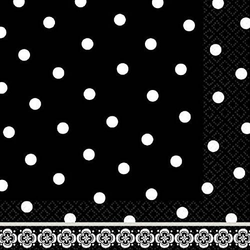 "Amscan Damask & Polka Dot Party Lunch Napkins (36 Piece), 6.5 x 6.5"", Black/White"