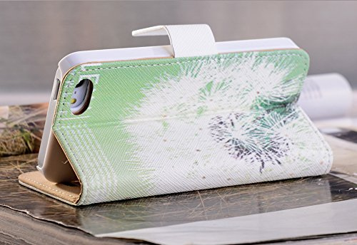 Mylife (Tm) Mint Green And Dandelion Design - Textured Koskin Faux Leather (Card And Id Holder + Magnetic Detachable Closing) Slim Wallet For Iphone 5/5S (5G) 5Th Generation Smartphone By Apple (External Rugged Synthetic Leather With Magnetic Clip + Inter
