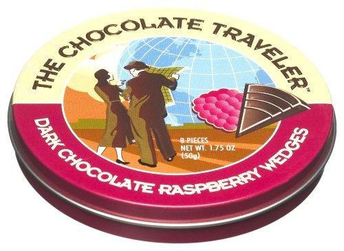 The Chocolate Traveler Dark Chocolate Raspberry Wedges, 1.75-Ounce Tins (Pack of 12)