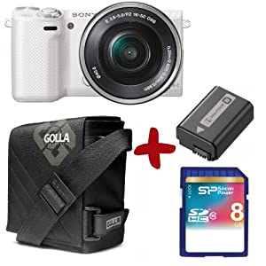Bundle Sony NEX 5RL White Digital Camera + 8GB + Carry Case + Spare battery (16.1MP, 16-50mm Lens 3 inch LCD Screen)