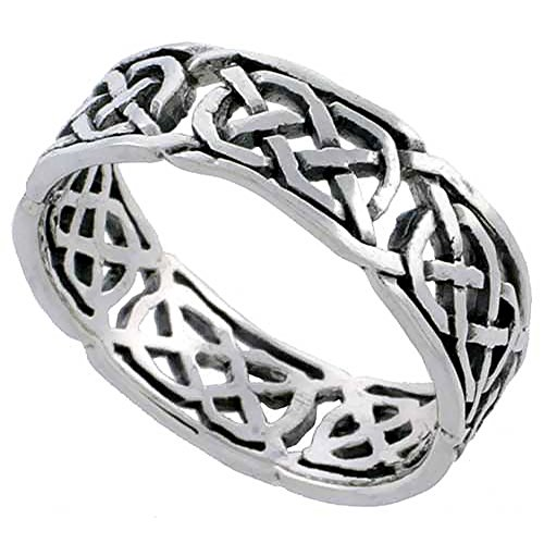 Sterling Silver Celtic Knot Wedding Band Thumb Ring 1/4 Inch Wide, Size 10