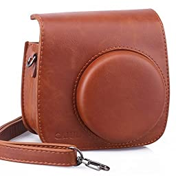 [Fujifilm Instax Mini 8 Case] - CAIUL Comprehensive Protection Instax Mini 8 Camera Case Bag With Soft PU Leather Material (Brown)