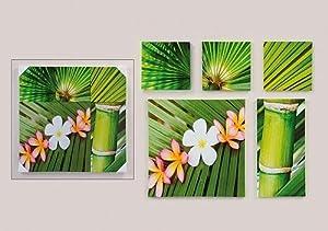 5 er set wandbilder bambus orchidee feng shui 60cm x 60cm k che haushalt. Black Bedroom Furniture Sets. Home Design Ideas