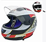 Moto GP & F1 (Red) Replica Motorbike Helmet Audio High Power Speaker Sound System with iPod Dock behind the Motorised Visor! (connects to iPod - iPhone - MP3 player - USB memory stick - SD / MMC Memory card or use as a MP3, Computer Laptop or PC Speaker)