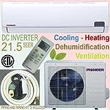 Pioneer Ductless Mini Split INVERTER Air Conditioner, Heat Pump, 9000 BTU (3/4 Ton), 21.5 SEER, Cooling, Heating, Dehumidification, Ventilation. Including 16 Foot Installation Kit.. 110~120 VAC.