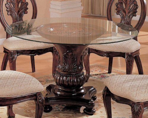 Pedestal Dining Table with Glass Top Cherry Finish