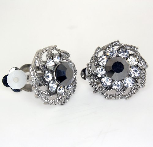 Vintage Hematite and Clear Austrian Crystal Flower Clip-on Earrings