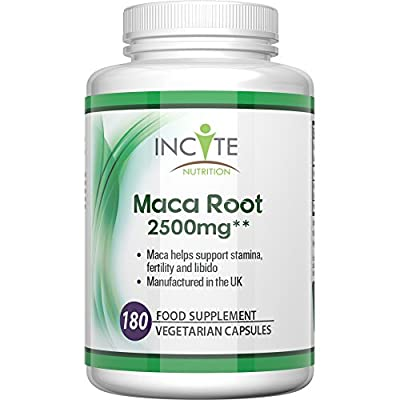 Maca root capsules 2500mg, 180 Capsules (6 Month Supply) vegetarian capsules not powder, oil or tablets - Health Benefits Include increased fertility and helps with menopause, Vegan Maca gives a burst of vitamins to both men & women.