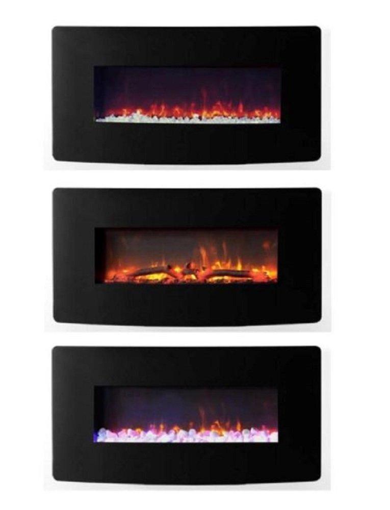 Muskoka 35 Modern Black Curved Glass Wall Mount Electric Fireplace Heater Thin Ebay