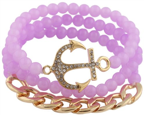 2 Sets Of Of Goldtone With Purple Bundle Of 3 Piece Cuban Link Chain & Anchor Beaded Style Stretch Bracelet