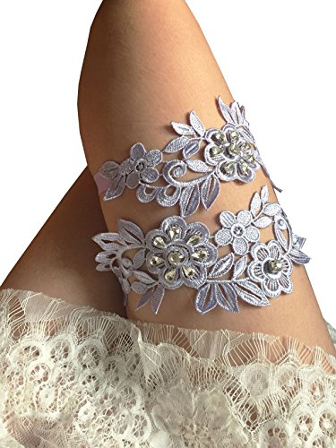 Thick lace legs garter set with rhinestones wedding garter set (Lavender)