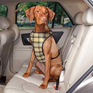 Guardian Gear Plaid Car Pet Harness, X-Small, Tan