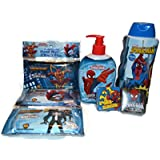 Spider-man Bath Bundle of 5 Items Include 2 Magic Washcloths, 1 8oz Bottle of Hand Soap, 1 12 Oz Bottle of Body Wash and 3 Packs of 10 Antibacterial Hand Wipes