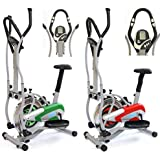 Gym Master 2 in 1 Elliptical Exercise Bike & Cross Trainer for Cardio Workout with Gym Ball - 1 Year Warranty