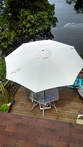 Cantilever Umbrella Tan Offset Pre Lit 11 Ft Patio With Base: Outdoor Umbrella With Solar Lights : Funk This House
