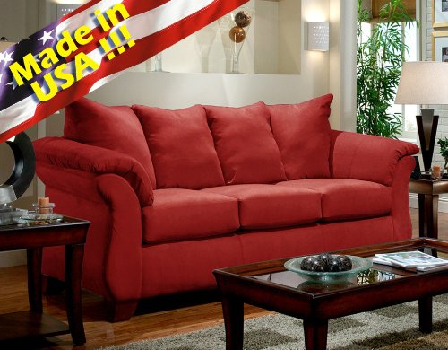 Roundhill Furniture Sensations Microfiber Pillow Back Sofa, Red