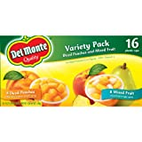 Del Monte Quality 16 Plastic Cup Variety Pack of Mixed Fruit and Diced Peaches