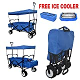 BLUE OUTDOOR SPORT BEACH ALL PURPOSE EXTRA BIG JUMBO TIRES * FREE ICE COOLER * GARDEN UTILITY SHOPPING TRAVEL CART LARGE COLLAPSIBLE FOLDING WAGON WITH CANOPY COVER - EASY SETUP NO TOOL NECESSARY