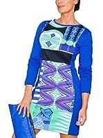 H.H.G. Vestido Algodon (Azul / Multicolor)