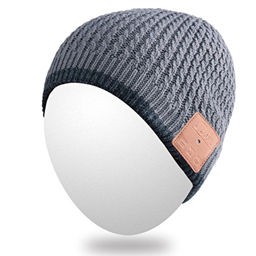 Qshell Outdoor Bluetooth Beanie Hat Slouchy Knit Skully Cap with Wireless Bluetooth Headphone Headset Earphone Music Audio Hands-free Phone Call for Winter Sports Fitness Gym Exercise Workout - Gray