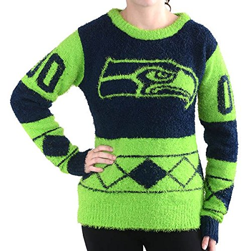 NFL-Seattle-Seahawks-Womens-Eyelash-Ugly-Sweater-Small-Green