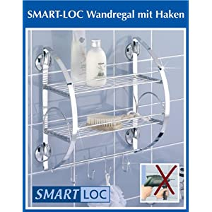 badezimmer wenko smart loc badregal ohne bohren bad ablage mit haken badezimmer wandregal. Black Bedroom Furniture Sets. Home Design Ideas