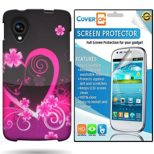Coveron® Lg Google Nexus 5 Hard Plastic Slim Case Cover Bundle With Clear Anti-Glare Lcd Screen Protector - Pink Purple Love