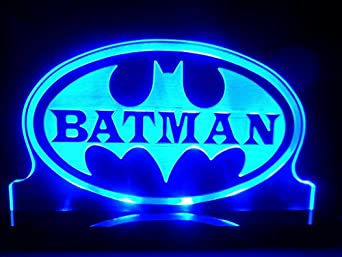 Inspired batman super hero led table lamp night light kids for Kids room night light
