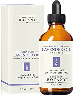 Lavender Kashmir Essential Oil - Brooklyn Botany - 100% Pure, 1 fl. Oz - with 31% Linalool & 34% Linalyl Acetate - Great for Aromatherapy, Massages, Bug Repellent, Hair Care and Skin Care