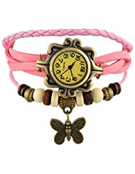 Horse Head Analog Vintage Analog Leather Bracelet Butterfly Jewellery Style Women's Watch - - B018GQISAI