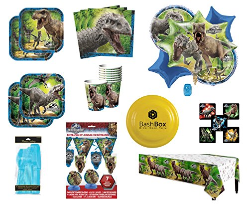 BashBox Jurassic World Birthday Party Supplies Pack for 8 Guests Including Plates, Cups, Napkins, Table Cover, Balloon Bouquet, Cutlery & More