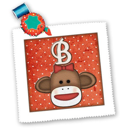3dRose qs_102805_2 Cute Sock Monkey Girl Initial Letter B-Quilt Square, 6 by 6-Inch