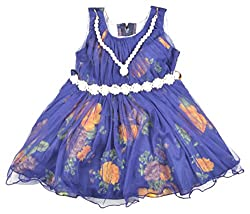 Kuchipoo Girls Frock (KUC-FRK-144_1, Blue, 2-3 Years)