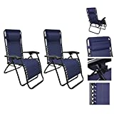 1 Pair Navy Blue Color Recliner Lounge Chair Fully Reclined-63 Inches Long